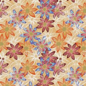 Spiral Flowers on Soft Orange