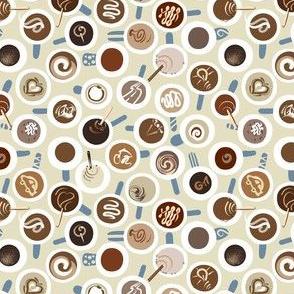 MicroDitsy Micro Coffee Time | Soft Teal + Cream