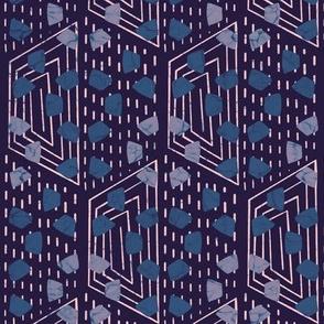 Wax print hexies  - navy
