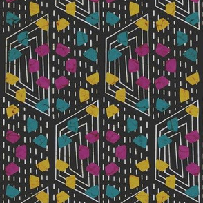 Wax print - magenta, teal and yellow on black
