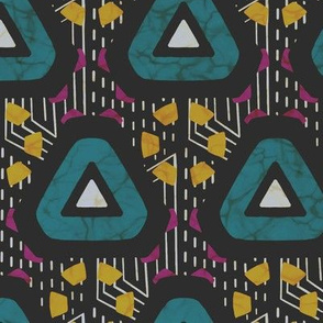 Wax print triangles - teal and yellow