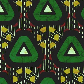 Wax print triangles - green and yellow on black