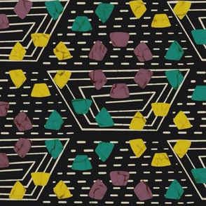 Wax print hexies - teal and yellow on black