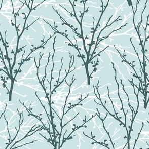 Pine and White on Mint Witch Hazel Branches