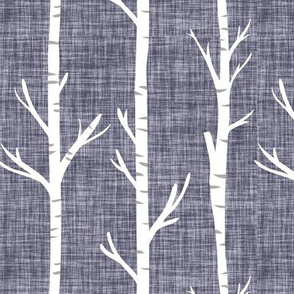 pewter linen birch trees