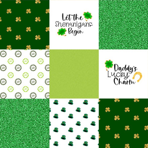 Daddy Lucky Charm - Wholecloth Cheater Quilt - Rotated