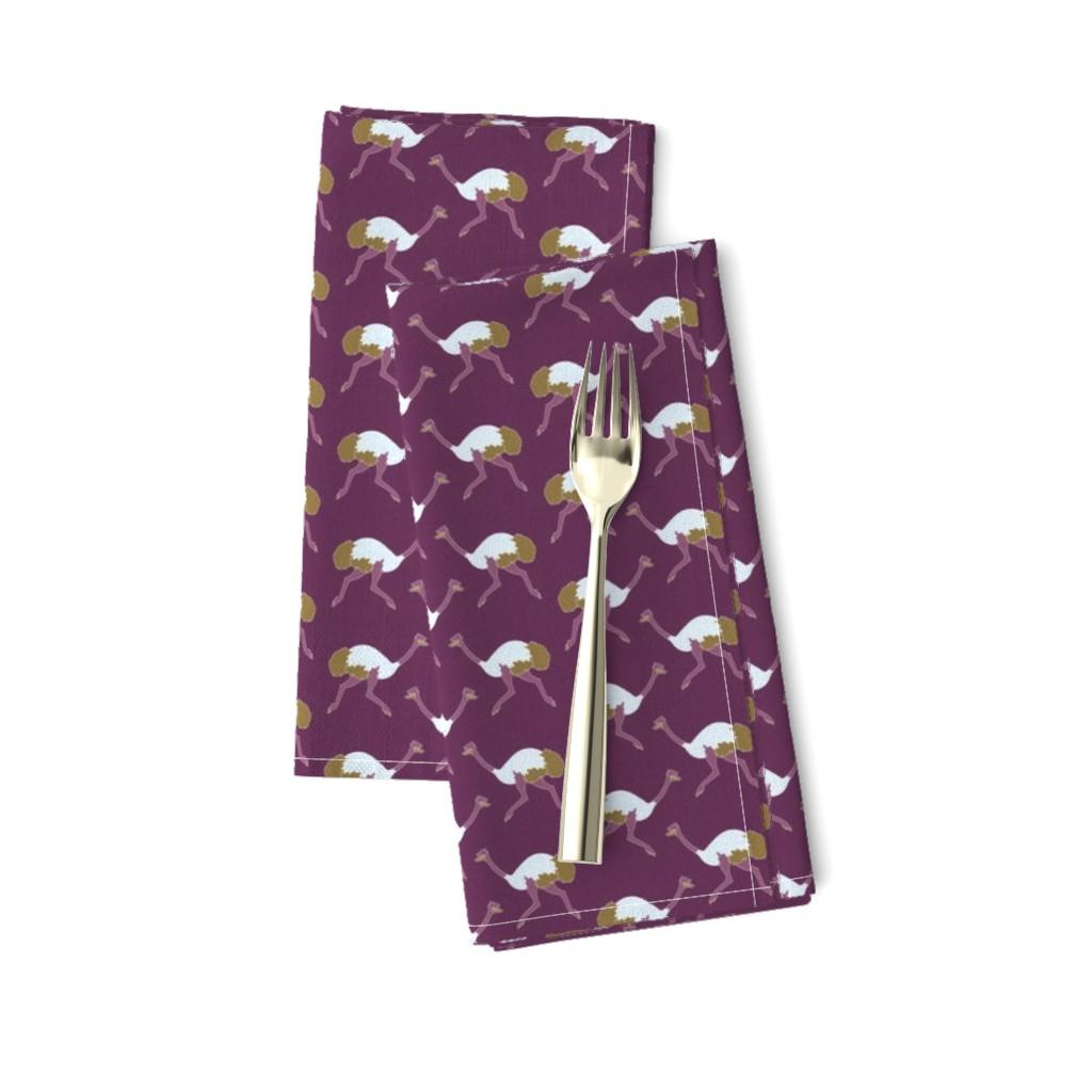 Amarela Dinner Napkins featuring ostrich_purple_littleesop_small by holli_zollinger