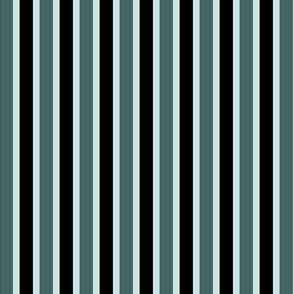 Pine and Mint  Stripes (#1) - Narrow Mint Ribbons with Black and Pine