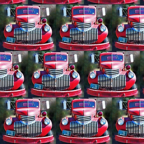 Vintage Real Fire Truck, Front View Red Blue Gray