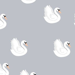 Romantic swan lake little nursery swans pond neutral cool blue