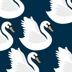 Romantic swan lake nursery swans pond girls pastel navy blue white