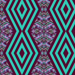 DMDC3 - XL Large  - Diamond Chain Stripes with  Mirrored Wavy Plaid Abstract Backdrop  in Aqua and Purple
