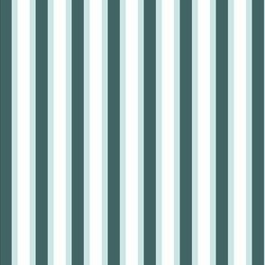 Pine and Mint  Stripes (#2) - Narrow Mint Ribbons with White and Pine