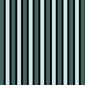 Pine and Mint  Stripes (#3) - Narrow Black Ribbons with Mint and Pine