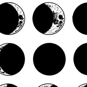 moon phases - large scale - black + white