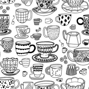 tea time - black + white - coloring book
