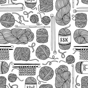 knitting - black + white - coloring book