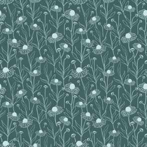 Seamless vector pattern with flowers on mint blue background. Repeat wallpaper design with daises. Romantic floral print.