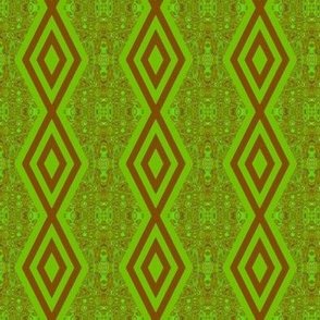 DMDC2 - Medium - Diamond Chain Stripes with Mirrored Abstract Backdrop in Brown and Green