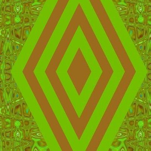 DMDC2  - XL - Diamond Chain Stripes with Mirrored Abstract Backdrop in Brown and Green