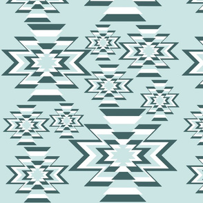 Pine and Mint Throw Pillow Teal Mint Kilim
