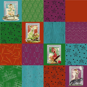 """Mythical Victorians 4"""" Wholecloth Patchwork"""