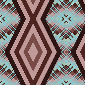 DMDC1  - XL - Diamond Chain Stripes with Plaid Backdrop in Brown and Aqua