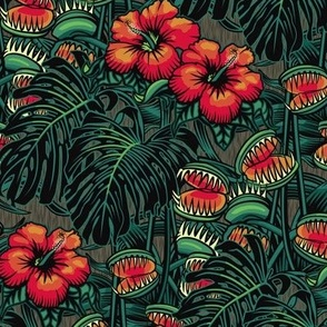 ★ TROPICAL NIGHT ★ Carnivorous Plant, Hibiscus & Monstera / Red + Emerald Green, Small Scale / Collection: It's a Jungle Out There – Savage Hawaiian Prints