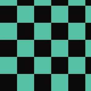 MINI Demon-Slaying Tanjiro  Teal Green Black Square Ichimatsu Checkered Plaid