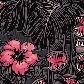 ★ TROPICAL NIGHT ★ Carnivorous Plant, Hibiscus & Monstera / Pink + Grayish Plum, Large Scale / Collection: It's a Jungle Out There – Savage Hawaiian Prints