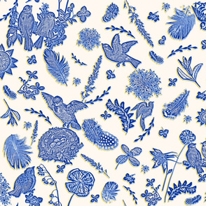 whimsical garden birds toile