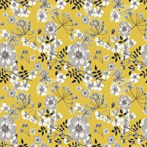 Wild Rose Yellow Blk micro quilt