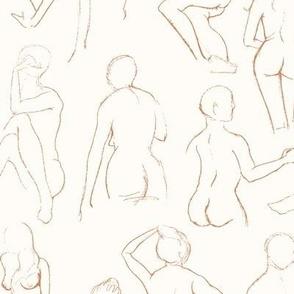 Figure Sketches (terra cotta on cream)