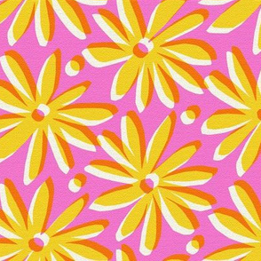 Daisy flower offset pink and mustard