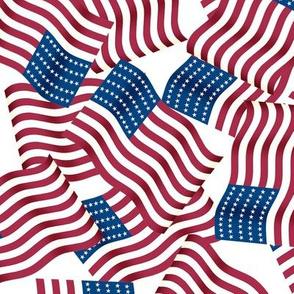 American Flag Pattern White LG
