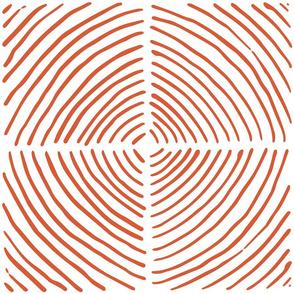 circle quadrants | large scale burnt orange on white