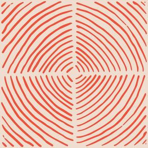 circle quadrants | large scale burnt red on beige