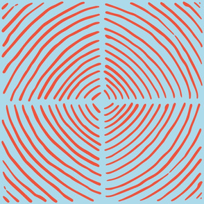 circle quadrants | large scale red on light blue
