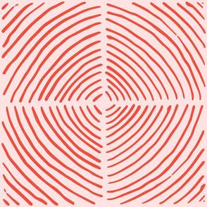 circle quadrants | large scale burnt orange on pink