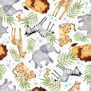 Jungle Animals (white) - Kids Safari Animal Nursery Bedding, Lion Elephant Giraffe Zebra Rhino Cheetah, SMALLER scale