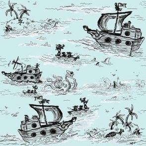 A Pirates Toile Blue - Small