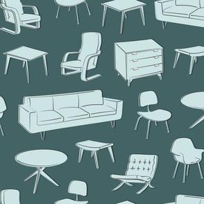 Midcentury Modern Furniture- pine & mint