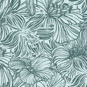 bold floral in mint and pine on linen