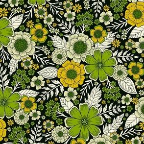 Modern Yellow & Green Floral Pattern