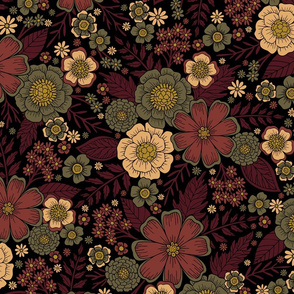 Classy Burgundy, Cream & Sage Green Floral Pattern
