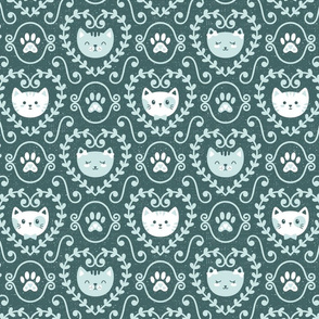 I Heart Cats in Pine & Mint