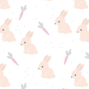 Little bunny garden and carrots sweet spring easter theme baby kids design soft beige pink gray on white