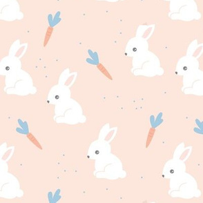 Little bunny garden and carrots sweet spring easter theme baby kids design soft mint soft blush blue white