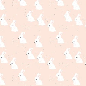 Little bunny garden and rabbits sweet spring easter theme baby kids design soft mint soft blush blue white