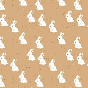 Little bunny garden and rabbits sweet spring easter theme baby kids design cinnamon latte brown neutral nursery SMALL
